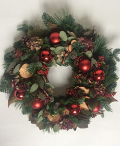 Christmas wreath red bauble