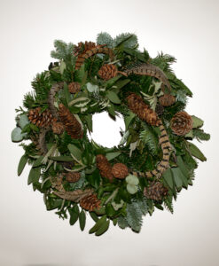 Christmas wreath pheasant feather