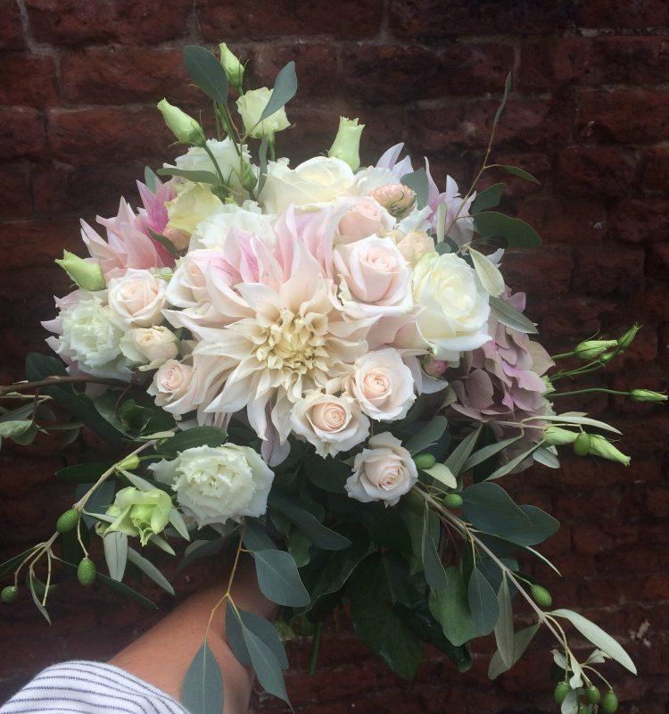 autumn wedding bouquet in blush and white