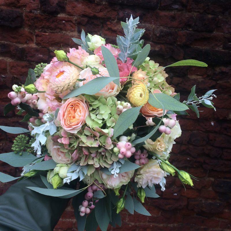 autumn wedding bouquet in blush and peach