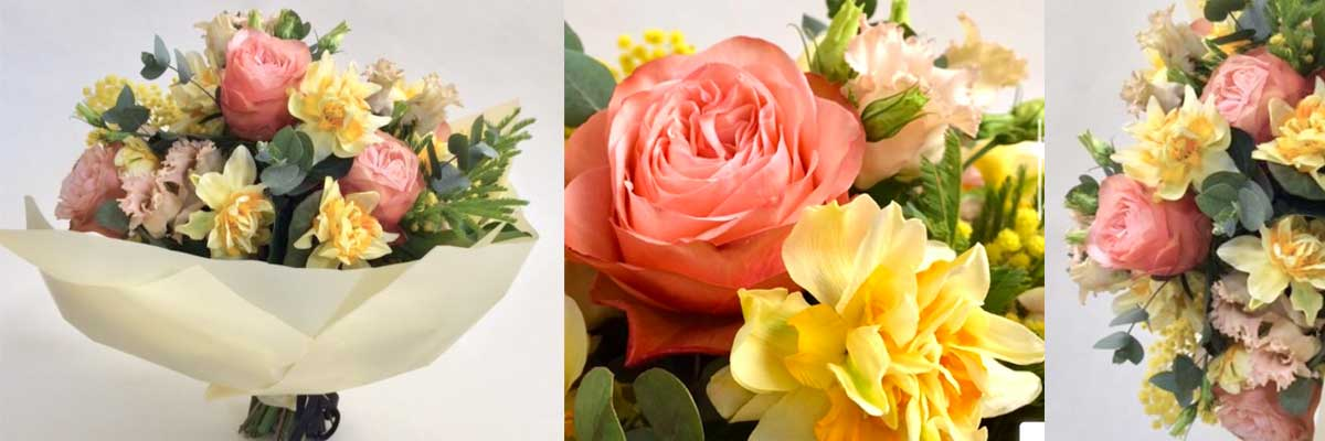 Spring bouquet with scented Narcissi or daffodils, roses