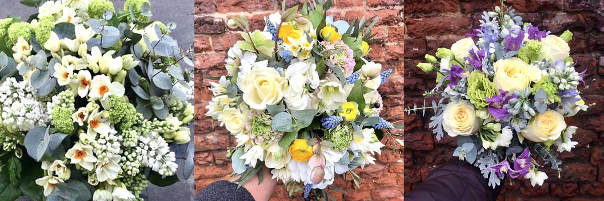 Spring flowers, such as Scented Narcissi or Daffodils in wedding bouquets