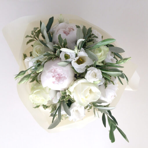 white peony bouqut top view